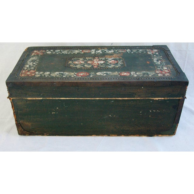 French 19th C. Hand Painted Leather Trunk - Image 10 of 10