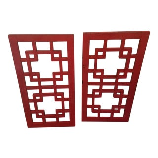 Antique Chinese Red Lacquered Wall Panels - A Pair