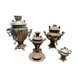 Antique Brass & Silver Samovars - Set of 4