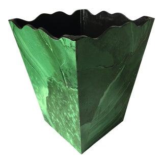 Malachite Decoupage Wood Wastebasket