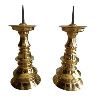 Vintage Solid Brass Candle Holders - A Pair