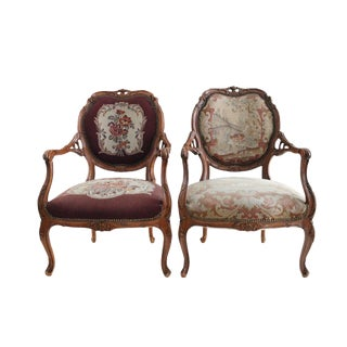 French Walnut Aubusson Chairs - A Pair