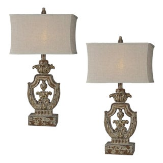 French Inspired Carved Resin Table Lamps - A Pair