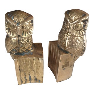 Brass Owl Library Bookends - a Pair