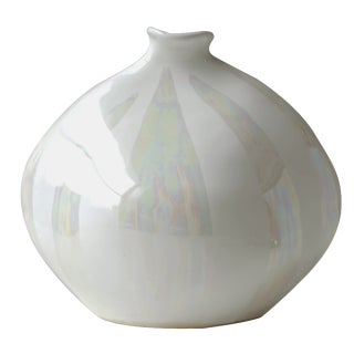 Alka Malta White Iridescent Bud Vase