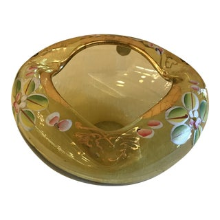 Yellow Art Blown Glass Hand Painted Bowl