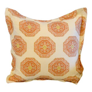 Quadrille Medallion Melon Camel on Cream Pillow