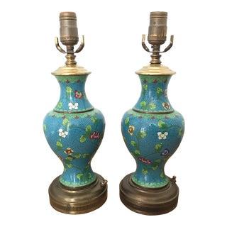 1940s Blue Cloisonné Lamps - A Pair