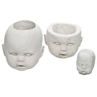 Cast Concrete Doll Head Planters - Set of 3