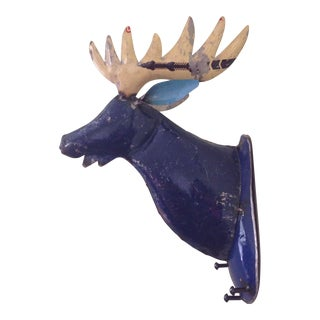 Rustic Blue Metal Moose Head Wall Mount