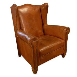 Italian Leather Wingback Chair