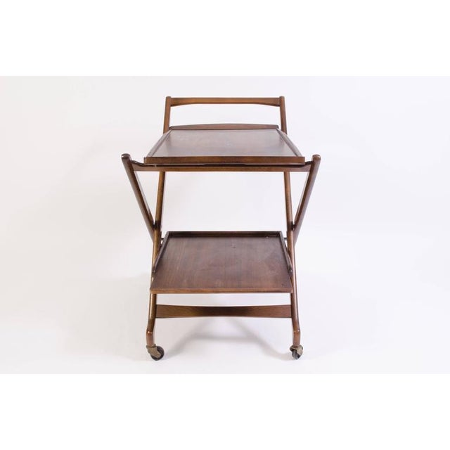 Danish Folding Walnut Bar Cart with Serving Tray - Image 3 of 10