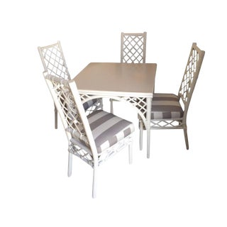 White Hollywood Regency Game Table & Chairs