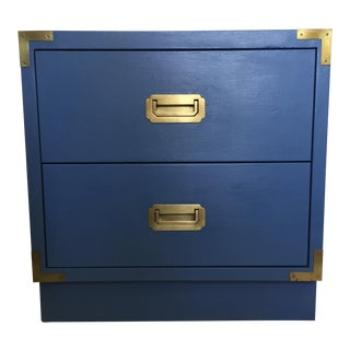 Blue Wood Campaign Nightstand