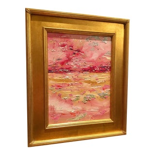 """Abstract Pink & Gold Landscape"" Original Oil Painting by Sarah Kadlic - 11"" x 14"""