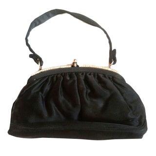 1940s Glamorous Black Silk Rhinestone Evening Bag