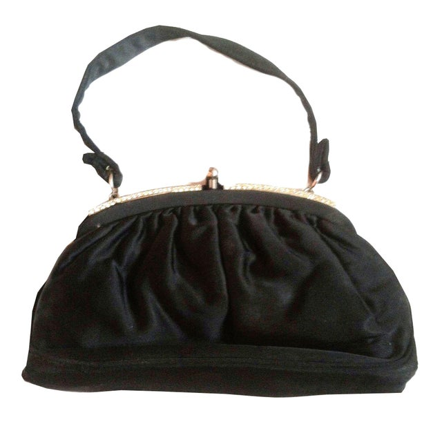 Image of 1940s Glamorous Black Silk Rhinestone Evening Bag