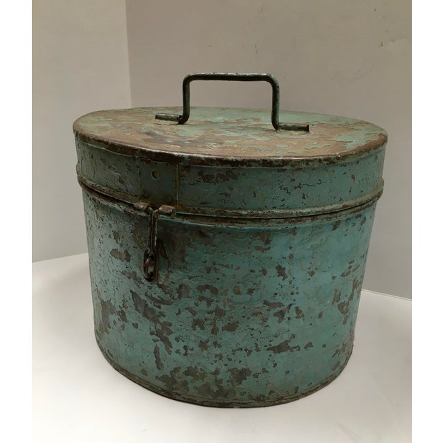 Vintage Painted Metal Oval Hat Box - Image 7 of 8