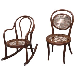 Pair of Matching 19th Century Bentwood Child's Rocking Chair and Chair
