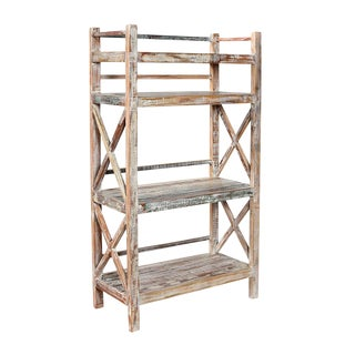 White Wash Wood Bookcase
