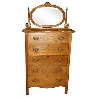 Oak Highboy Dresser With Mirror