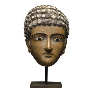 Egyptian Painted Plaster Funerary Mask of a Man