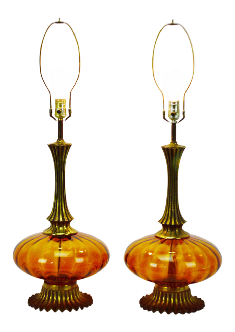 Mid Century Modern Amber Glass Table Lamps   A Pair