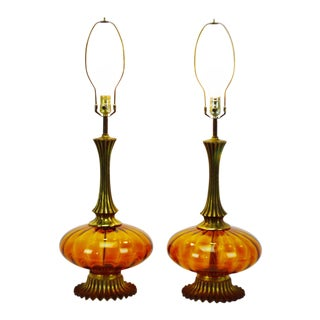 Mid Century Modern Amber Glass Table Lamps - a pair