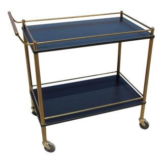 Maxwell Phillip Brass Bar Cart With Black Shelves