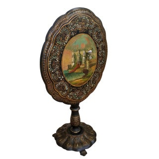 Antique English Victorian Papier Mache Tilt Top Table