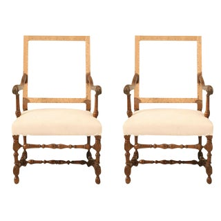 Circa 1880 French Walnut Throne Chairs - A Pair