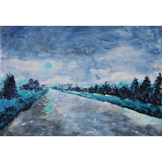 Blue Abstract Landscape River Painting by C. Plowden