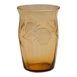 Amber Colour Pressed Glass Vase, England c.1950