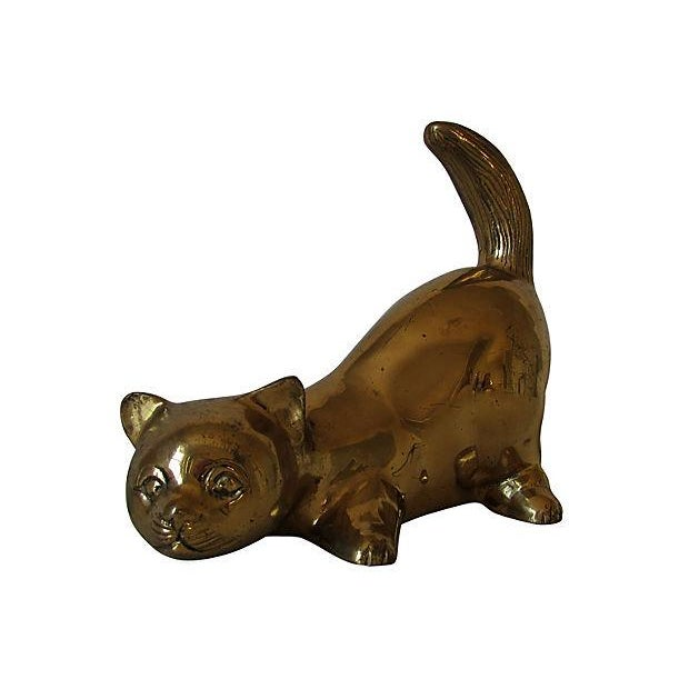 Image of Solid Brass Pouncing Cat