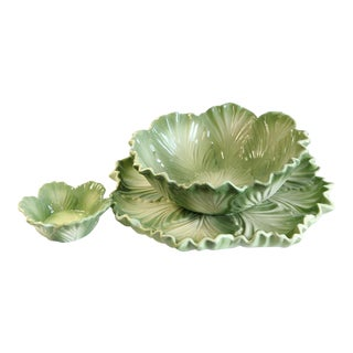Majolica Lettuce Serving Set - Set of 3