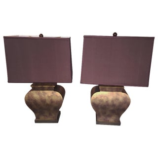Vintage Bronze Urn  Lamps - A Pair