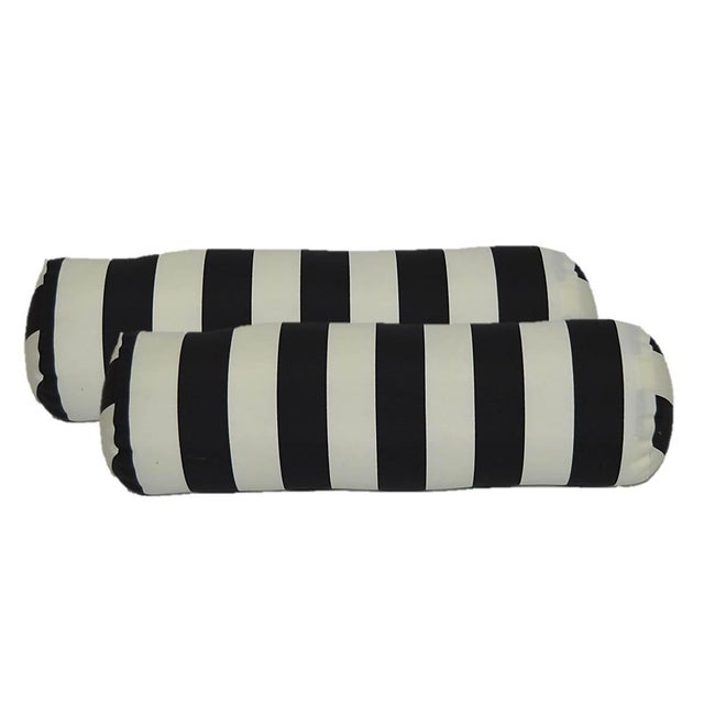 Black & White Stripes Bolster Pillows - A Pair - Image 1 of 2