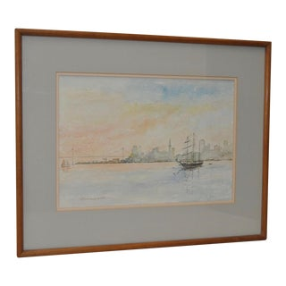 William Dohrmann San Francisco Bay Impressionist Watercolor Painting, Circa 1983