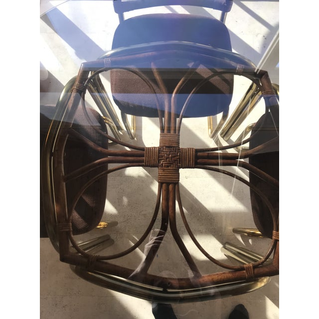 1970's Brass & Rattan Smoked Glass Dining Set - Image 4 of 7