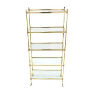 Brass and Glass Hoof Feet Five-Tier Etagere