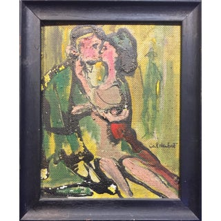 1965 Mid-Century Two Lovers Painting