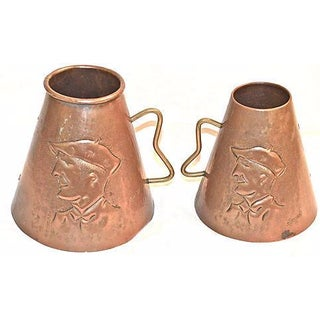 French Copper Cariacature Tankards, Goarde - Pair
