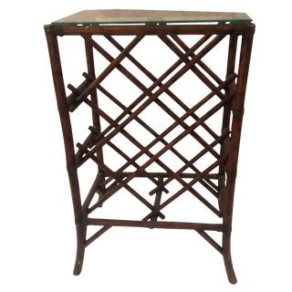 Vintage Rattan Glass Top Wine Rack