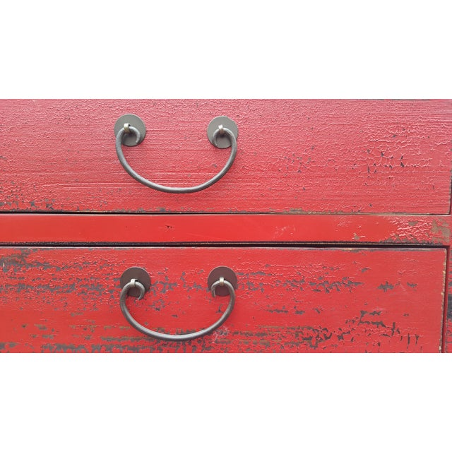 Red Chinese Extra Tall Dresser - Image 5 of 8