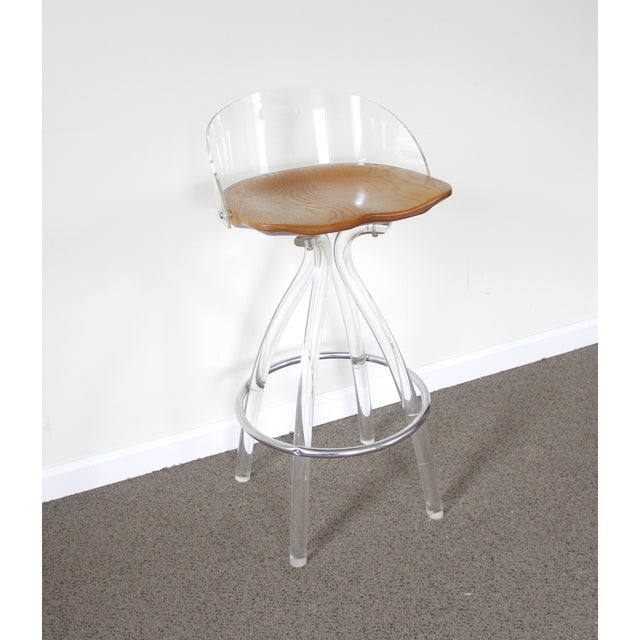 Lucite & Wood Bar Stool - Image 5 of 9