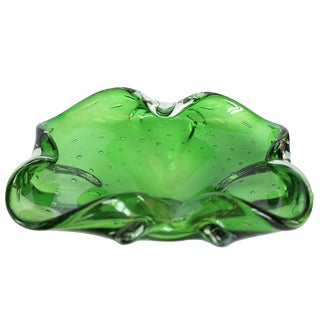 Vintage Green Blown Ashtray