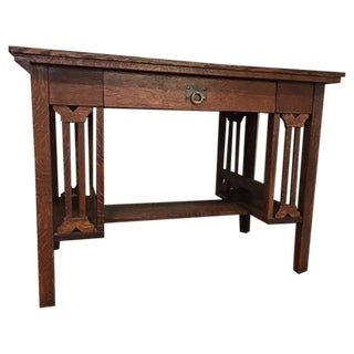Arts and Crafts Mission Style Oak Library Table