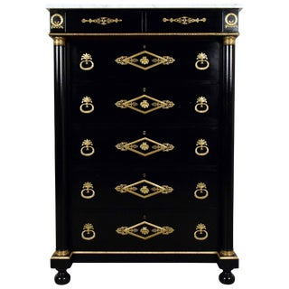 French Traditional Ebonized Tall Chest of Drawers
