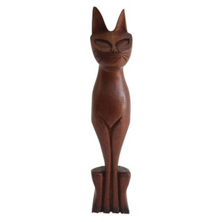 Mid Century Carved Siamese Cat