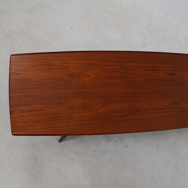 Long Danish Modern Teak Surfboard Coffee Table - Image 6 of 7